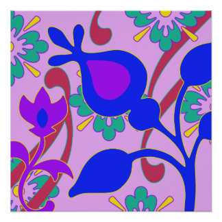 Bright Colorful Funky Flowers  Abstract Poster