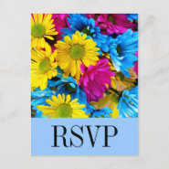 Bright Colorful Gerber Daisy Bouquet RSVP Postcard