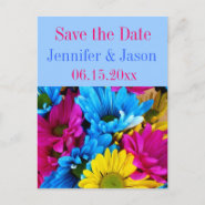 Bright Colorful Gerber Daisy Bouquet Save the Date