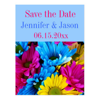 Bright Colorful Gerber Daisy Bouquet Save the Date Postcards