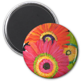 Bright & Colorful Gerbera Daisies 2 Inch Round Magnet