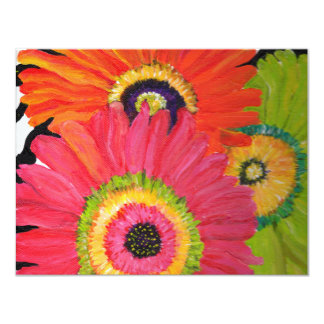 Bright & Colorful Gerbera Daisies 4.25x5.5 Paper Invitation Card