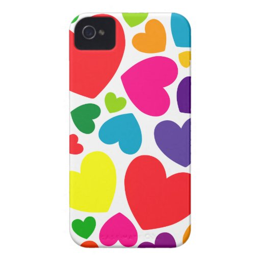 Colorful Iphone Wallpaper Girly: Bright Colorful Girly Hearts IPhone 4 Case-Mate Case