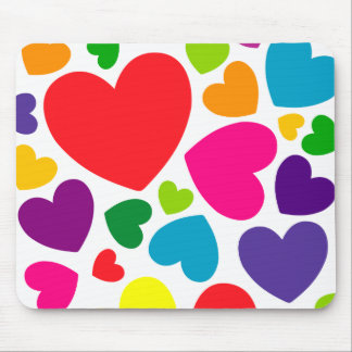 Bright Colorful Girly Hearts Mouse Pad