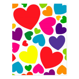 Bright Colorful Girly Hearts Postcard