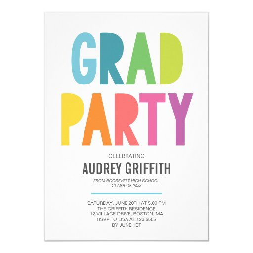 Bright Colorful Grad Party Invitation