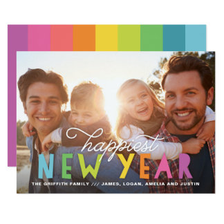 Bright Colorful Happiest New Year Holiday Photo Card