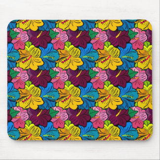 Bright Colorful Hibiscus Flowers Mouse Pad