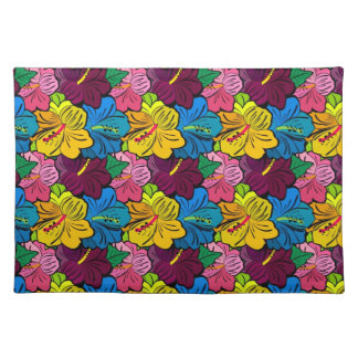 Bright Colorful Hibiscus Flowers Place Mats