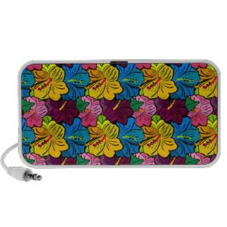 Bright Colorful Hibiscus Flowers Notebook Speakers