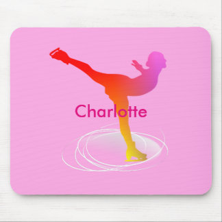 Bright Colorful Ice Skating Skater Silhouette Mouse Pad