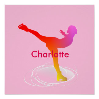 Bright Colorful Ice Skating Skater Silhouette Poster