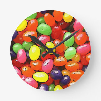 Bright colorful jelly beans round clock