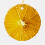 Bright Colorful Lemon Close Up Christmas Ornaments