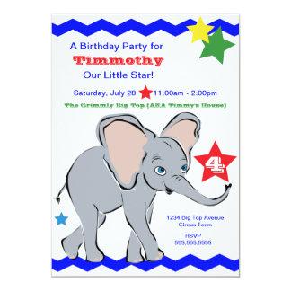 Bright Colorful Little Elephant Star Invitation