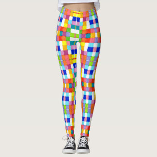 Bright Colorful Markers Checkered Squares Grid Leggings