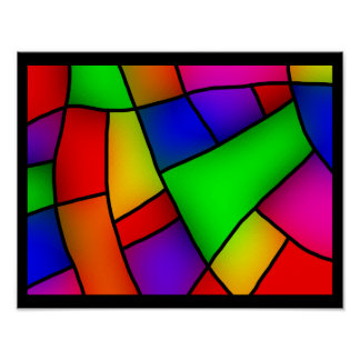 BRIGHT COLORFUL MODERN ART 112 FUN BACKGROUNDS TEM POSTER