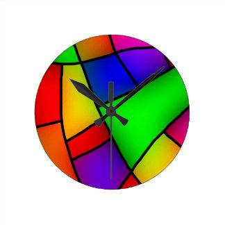 BRIGHT COLORFUL MODERN ART 112 FUN BACKGROUNDS TEM ROUND CLOCK