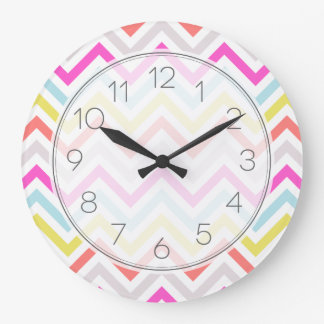 Bright Colorful Modern Chevron Stripes Clock