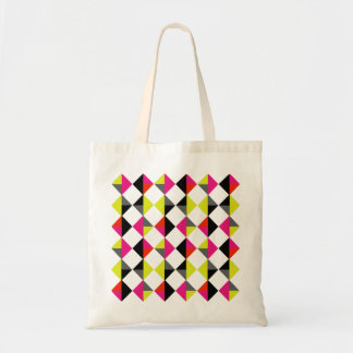 Bright Colorful Modern Geometric Diamond Pattern Budget Tote Bag