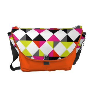 Bright Colorful Modern Geometric Diamond Pattern Messenger Bag