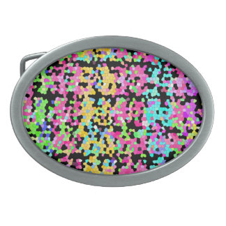 Bright Colorful Multicolored funky Artsy Pattern Oval Belt Buckle