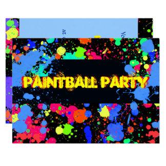 Bright, Colorful Neon, Paintball Invitation