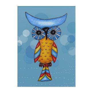 Bright Colorful Owl Big Blue Eyes on Circles Acrylic Print