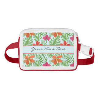 Bright Colorful Palm Leaves & Hibiscus Flowers Waist Bag