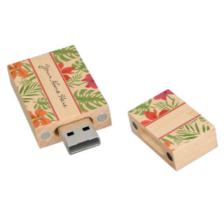 Bright Colorful Palm Leaves & Hibiscus Flowers Wood USB Flash Drive