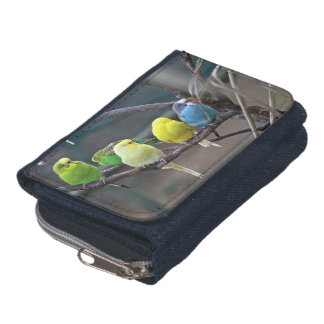 Bright Colorful Parakeets Budgies Parrots Birds Wallet