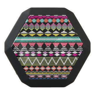 Bright Colorful Party Aztec Pattern Black Bluetooth Speaker