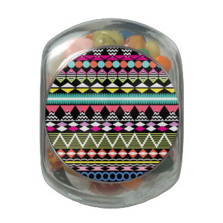 Bright Colorful Party Aztec Pattern Glass Candy Jars