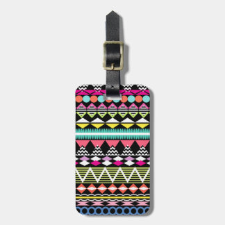 Bright Colorful Party Aztec Pattern Luggage Tag