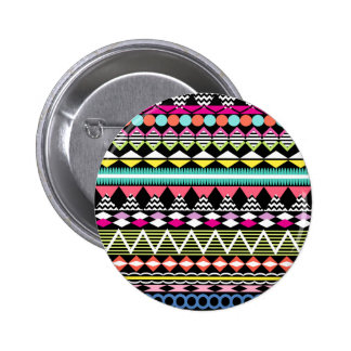 Bright Colorful Party Aztec Pattern Pinback Button