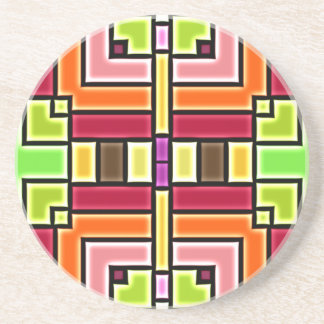 Bright Colorful Pattern Coaster
