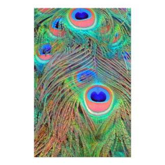 Bright Colorful Peacock Feathers Stationery