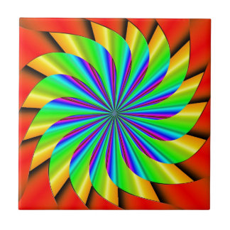 Bright Colorful Pinwheel Fractal Ceramic Tile