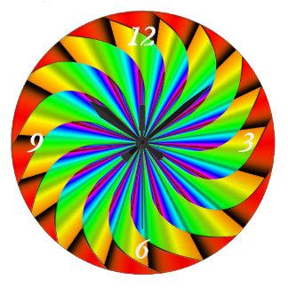 Bright Colorful Pinwheel Fractal Clocks