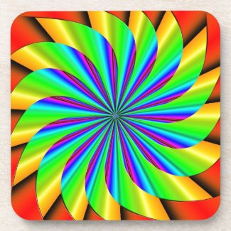 Bright Colorful Pinwheel Fractal Coasters