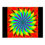 Bright Colorful Pinwheel Fractal Postcard