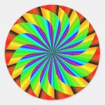 Bright Colorful Pinwheel Fractal Round Sticker