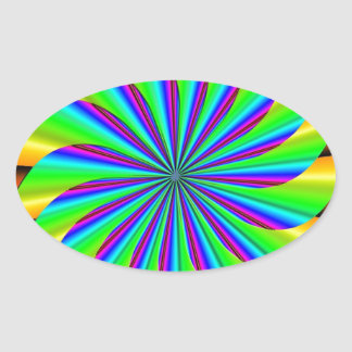 Bright Colorful Pinwheel Fractal Oval Stickers