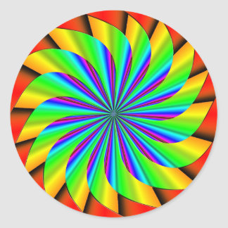 Bright Colorful Pinwheel Fractal Round Sticker