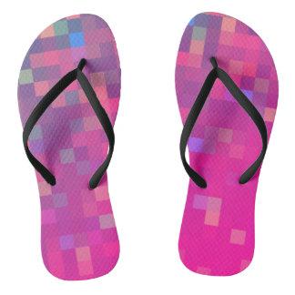 Bright & Colorful Pixel Pattern Flip Flops