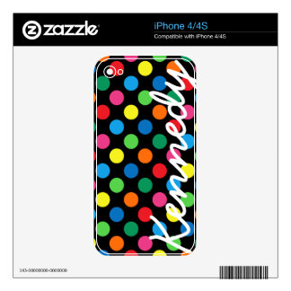 Bright Colorful Polka Dots Decal For The iPhone 4S