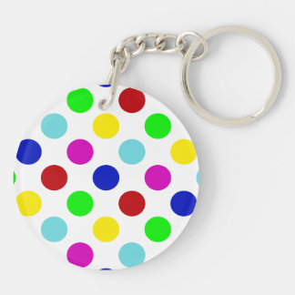 Bright Colorful Polka Dots Keychain