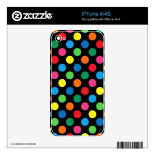 Bright Colorful Polka Dots Skin For iPhone 4