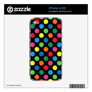 Bright Colorful Polka Dots Skin For The iPhone 4