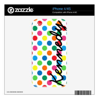 Bright Colorful Polka Dots Skin For The iPhone 4S
